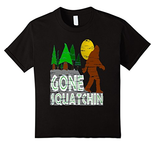 Kids Bigfoot gone squatchin t-shirt 8 Black (Bigfoot Costumes For Kids)