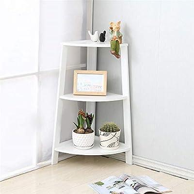 Estante de esquina moderno, unidad de 3 niveles, escalera de pared, estante de exhibición de almacenamiento independiente, estantería para estantería, para sala de estudio, sala de estar, baño: Amazon.es: Hogar
