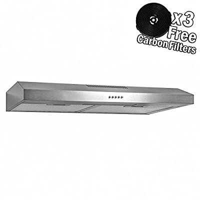 AKDY Under Cabinet Kitchen Range Hood Cooking Fan with Push Panel - Lighting Bar - Carbon Filters