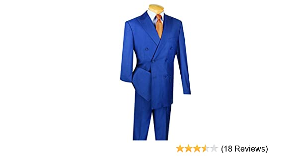 b8758bb82225f VINCI Men's Wool Feel 6 Button Double Breasted Solid Color Suit DC900-1