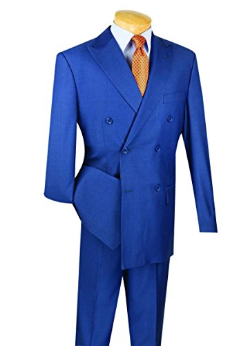 Vinci Wool Feel 6 Button Double Breasted Solid Color Suit DC900-1-Blue-36R
