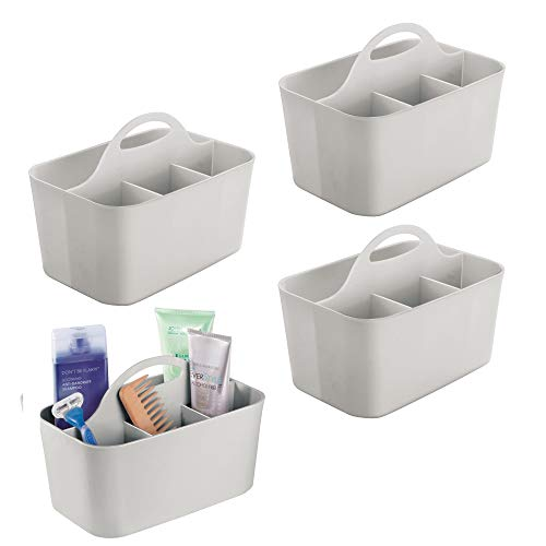mDesign Plastic Portable Storage Organizer Utility Caddy Totes, Divided Basket Bins with Handle, for Bathroom - Holds Hand Soap, Body Wash, Shampoo, Conditioner, Lotion - Small, 4 Pack - Light Gray