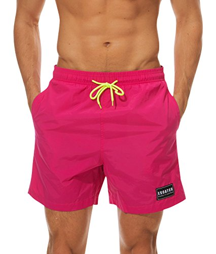 - ESCATCH Men's Beach Shorts Solid Mesh Lining Summer Quick Dry Swim Trunks Bathing Suit Shorts with Waistband US M Rose