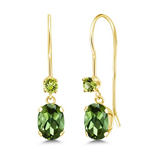 Gem Stone King 0.94 Ct Oval Green Tourmaline Green Peridot 14K Yellow Gold Earrings ()