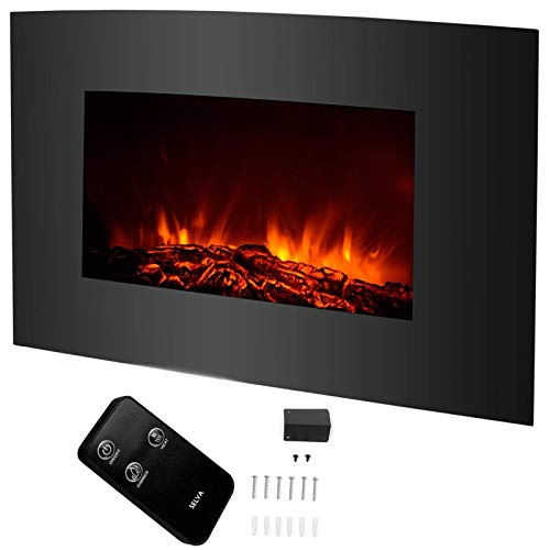 Cheap Selva Electric Fireplace Wall Mount Heater with Remote Control | Heavy Duty 1500W 3D Realistic Glowing Flame Cozy Warm Energy Efficient No Emission Pollution | Home Indoor Living Room Bedroom Office Black Friday & Cyber Monday 2019