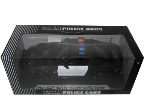 2012 Ford Shelby Mustang GT500 Super Snake Unmarked Black/White Police Car 1/18 by Shelby Collectibles SC462 - Shelby Collectible Vehicle