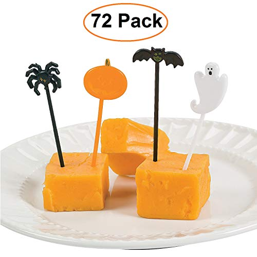 Halloween Plastic Food Picks, Bulk Pack of 72, Assorted Ghost, Bat, Pumpkin, and Spider Spooky Picks for Kids, Halloween Plate and Cupcake Toppers, Food-Safe Halloween Party Supplies and
