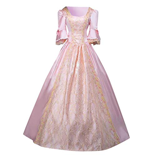 Sumeimiya Renaissance Costume for Women Vintage Bell Sleeve Princess Long Dresses Long Sleeve Poplin Queen Ball Gown Pink