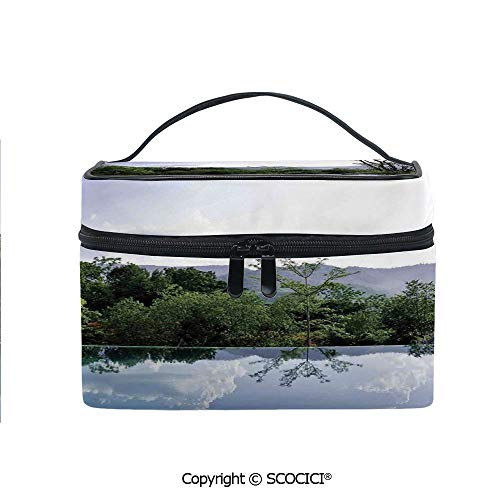 Lightweight Cosmetic Travel Bag Beauty Toiletry Bag Cloud and Tree Reflections on the Pool Forest Distant Hills Getaway Portable Multi-function Organizer ()