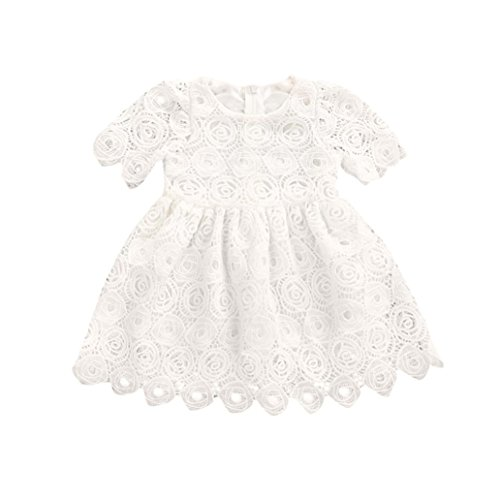 Goodtrade8 Toddler Baby Girl Ruffle Lace Floral Short Sleeve Princess Tutu Dresses Formal Wedding (0-6 Months, White) - Short Sleeve Tutu