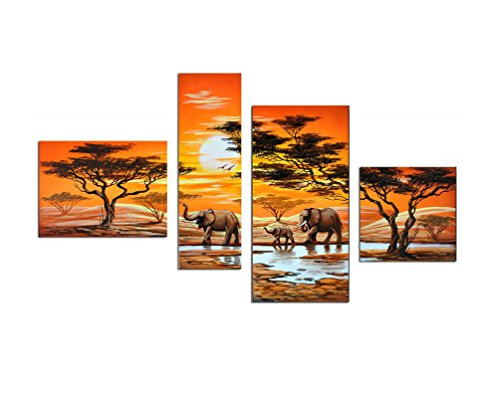 Noah Art-Contemporary African Art, Elephant in Sunset 100% Hand Painted African Landscape Oil Paintings on Canvas, Ready to Hang 4 Piece Wooden Framed African Wall Art for Living Room Wall Decor - African Plains Wall