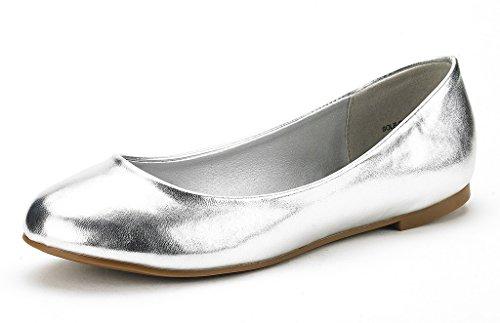 DREAM PAIRS Women's Sole Simple Silver Pu Ballerina Walking Flats Shoes - 7.5 M US