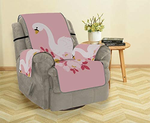 Rtosd Elegant Floral White Swan Flower Sofa Glider Cushions Fit-all Sofa Cushion Cover T Chair Slipcovers With Arms Furniture Protector For Pets Kids Cats Sofa