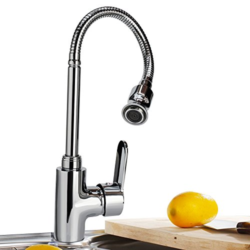 360 Rotatable Hot and Cold Water Kitchen Sink Faucet Mixer Sink Faucet Single Handle Bar Tap with Flexible Neck (Kitchen Sink Mixer Faucet)