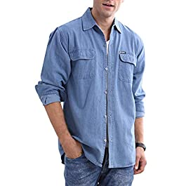 JEKAOYI Mens Denim Shirts Long Sleeve Casual Button Down Shirts Workwear with Pockets