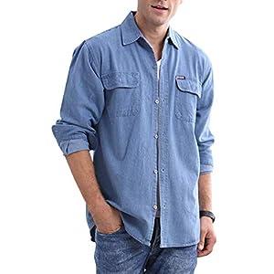 Men's Denim Shirts Long Sleeve Casual Button Down Shirts Workwear
