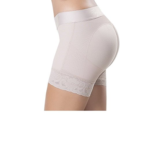 Fajitex Women's Fajas Colombianas Butt Lifter High-compression Girdle Short Control Panties 024640 (Large, Beige)