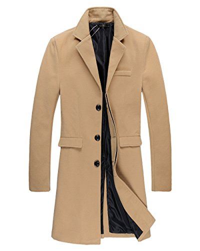 Beninos Mens Trench Coat Autumn Winter Long Jacket Overcoat (DY01 Camel,XL)