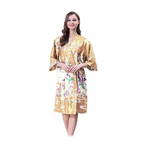 Tana Silky Satin Japanese Floral Kimono Robe (Gold Japanese Kimono Robe) (Japanese Gold Kimono)