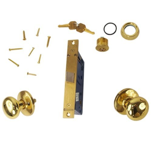 Marks, 22DW/3-W-LHR Polished Brass, Right Hand, Ornamental Knobe Rose Mortise Lockset Knob Vestibule Function Always Locked Storeroom Lock Set Iron Gate Door Latch Only - Single Cylinder