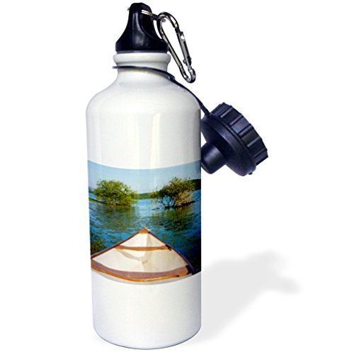 3dRose White Canoe In A Lake Sports Water Bottle, Multicolor, 21 oz by 3dRose