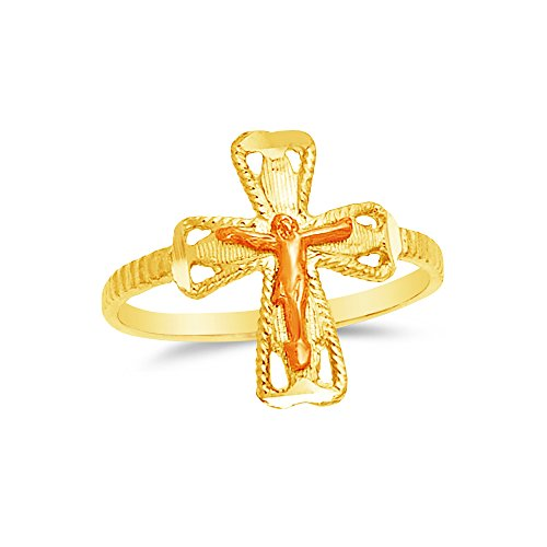 Size - 6 - 14k Two Toned Gold Crucifix (Two Tone Gold Crucifix Ring)