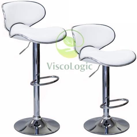 Viscologic Oasis Swivel Leather Adjustable Hydraulic Bar Stool, Set of 2 White