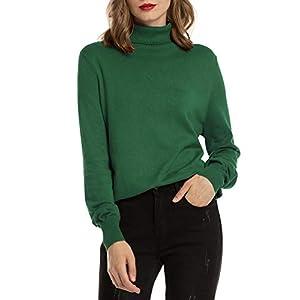 Woolen Bloom Pull Femme Col Roulé Côtelé Tricot Hauts sous Pull Manches Longues Chandail Dame Hiver Chaud Mode