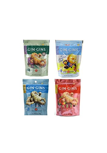 Gin Gins Gluten Free Vegan Ginger Candy 4 Flavor Variety Bundle: (1) Gin Gins Original, (1) Gin Gins Spicy Apple, (1) Gin Gins Peanut, and (1) Gin Gins Super Strength, - Ginger Candy Gin Gins