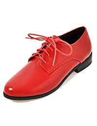 Unm Women's Comfort Burnished Wear to Work Office Dressy Lace Up Chunky Low Heel Round Toe Oxfords Shoes