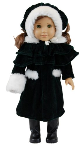"1914 Style Velvet Outerwear Complete Outfit, 18"" Doll Clothes fits American Girl Doll Clothes"