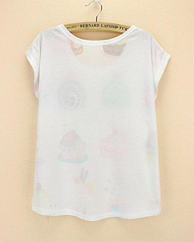 de Acvip poli mujer de moda manga de Camiseta con corta AqUFngERw