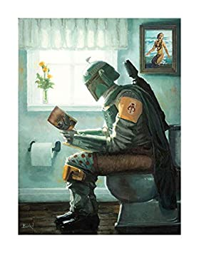 Dropping a Bounty by Bucket Star Wars Boba Fett Parody 12 Inches x 9 Inches Reproduction Gallery Wrapped Canvas Bathroom Wall Art