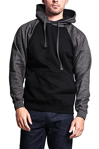 Heavyweight Contrast Raglan Sleeve Pullover Hoodie MH13112 - BLACK/CHARCOAL - Large - - G Style Usa