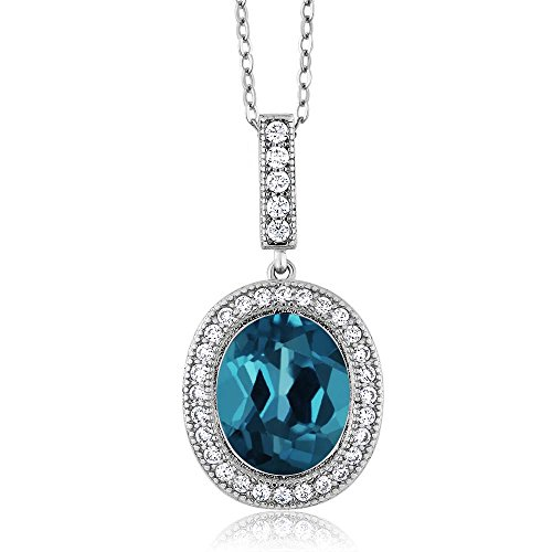 Gem Stone King 5.61 Ct Oval London Blue Topaz 925 Sterling Silver Pendant