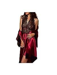 Ruziyoog Women Sexy Lingerie Babydoll Nightgown Lace Nightwear Set Satin Pajamas Set