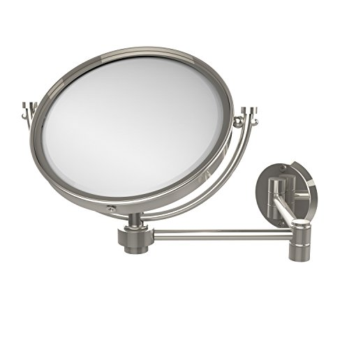 Allied Brass WM-6/4X-PNI 8 Inch Wall Mounted Extending Make-Up Mirror 4X Magnification Polished Nickel