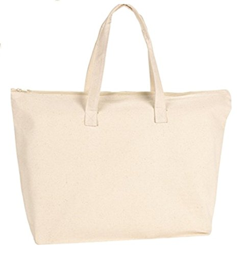 Best Deal ( 3 pack only for 22.90 $ ) Heavy Duty Canvas Tote Bags with Zipper Top and Zipper Inside Pockets, Size 20