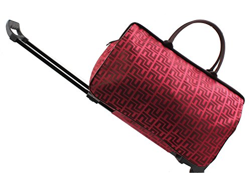 20 Inch Weekender - Jeemiter 20inch Luggage Rolling Duffle trolley travel bag tote Carry-On with red grid printed for Women Short Term Trips Weekend Excursion