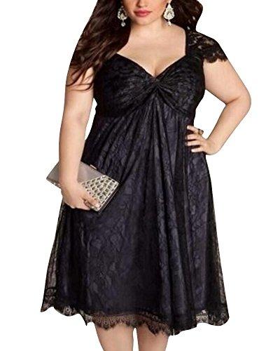 ZhuiKun Vestido de Mujer Flores Encaje Talla Grande V-Cuello Vestidos de Fiesta Negro
