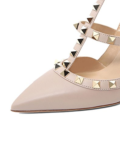 Studded Toe 14 A gold Stilettos Pointed Women nude High Chris Heels Stud Pumps Slingback t Strappy Matte 4 Sandals Us Leather H6tqwwnY