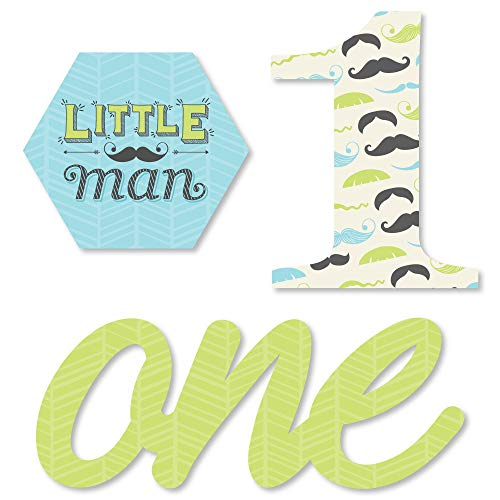 1st Birthday Dashing Little Man Mustache Party - DIY Shaped First Birthday Party Cut-Outs - 24 Count]()