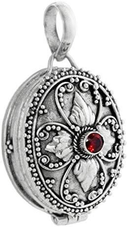 Windalf Colgante Sira H: 3.4Cm Medieval medallón con Rojo Granate Piedra Mano de Plata