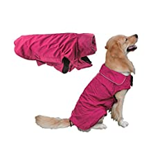 Cute Winter/Spring Warm Fleece Lined Coldproof Waterproof Nylon Lapel Coat T Shirt Jacket Outerwear Vest Poncho with Harness Hole for Medium Large Puppy Pet Dog,Christmas Costume