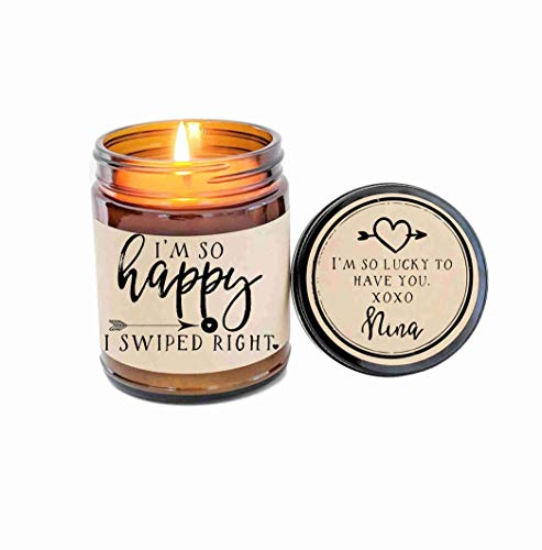 Swiped Right Gift for Girlfriend Gift for Boyfriend Gift Valentines Day Gift So Happy I Swiped Right Scented Candle Soy Candle Custom Candle