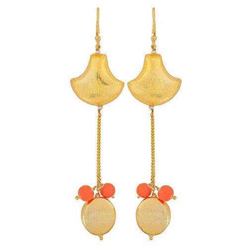 Maayra Showstopper Earrings Golden Orange Dangler Drop Party Jewellery by Maayra