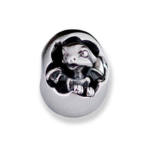 Hatching Baby Dragon Sterling Silver Charm Bead Pendant S925, Cute Little Hatching Dragon Egg Charm Pendant, Silver Dragon Egg bead pendant necklace, Pandora compatible Charm Jewellery
