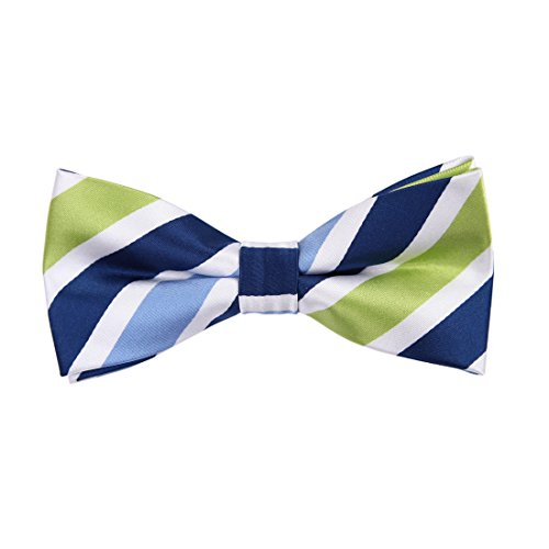 Epoint EBDA0152 Blue Green White Striped Bow Ties Microfiber Easter Goods Pre-tied Bow Tie -