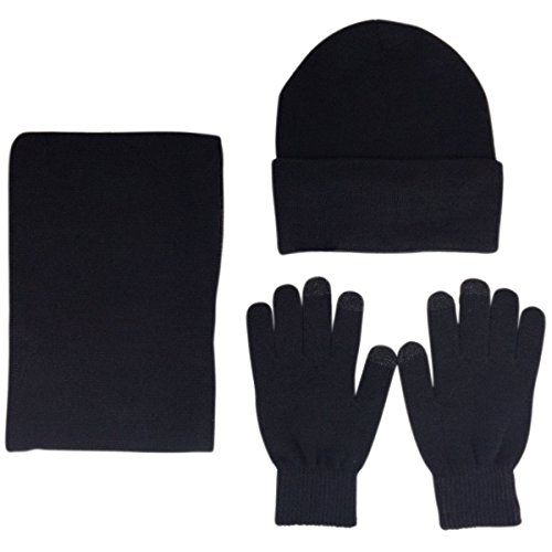 JOYEBUY Men 3 PCS Knitted Set Winter Warm Knit Hat + Scarf + Touch Screen Gloves (Black) Wool Scarf Hat