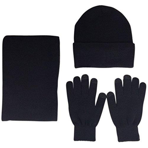 JOYEBUY Men 3 PCS Knitted Set Winter Warm Knit Hat + Scarf + Touch Screen Gloves (Black)